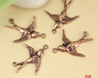 Clearance-6pcs Copper Tone Brass Flying Swallow Connector Charm