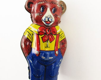 Tin Litho Bear - Vintage Bits and Pieces - Tin Litho-painted Mechanical Bear - 'J. Chein & Co., USA' - Tin Toy Collectible - Partial Piece