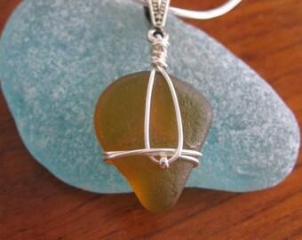 Beautiful Amber Orange Real Lake Superior Beach Glass Pendant Necklace