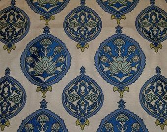 DESIGNER MOROCCO PAISLEY Medallions Damask Fabric Remnant Cream Inidgo Blue Aqua Goldendrod