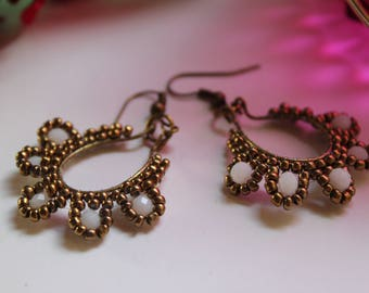 handmade jewelery, long beading earrings, bohemian earrings, long earrings, ancient gold mostacilla earrings, ibiza earrings