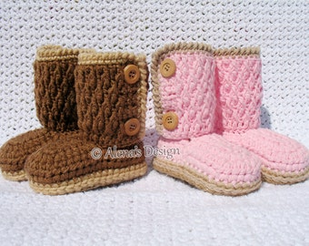 Crochet Boot Pattern 175 Buttoned Toddler Booties Crochet Slipper Pattern in five Kid's Sizes 1-5 years Crochet Booties Jute Soles Winter
