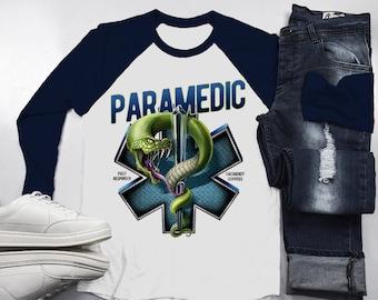 Men's Paramedic Raglan Star Life Snake Tee Gift Idea EMT Shirts 3/4 Sleeve