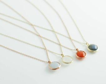 Gold Gemstone Necklace, Gold Opal Necklace, Gemstone Necklace, Gold Gem Necklace, Citrine Necklace, Amethyst Necklace, 14K Solid Gold GN0341