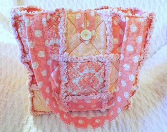 Rag Quilt Tote - Pink Damask and Polka Dot  - Dusty Pink - Melon Pink - Summer Tote - Gift for Her