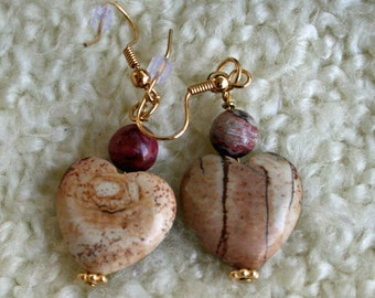 Picture Jasper  Heart Earrings