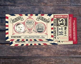 Vintage Train Ticket Invitation,Vintage Train invitation - Train ticket invitation for birthday party - Choo Choo train