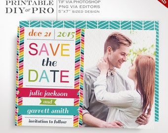 Save the Date Wedding Template - Rainbow Chevron Wedding Photo Save the Date - Printable DIY Rainbow Wedding Editable Custom Photograph