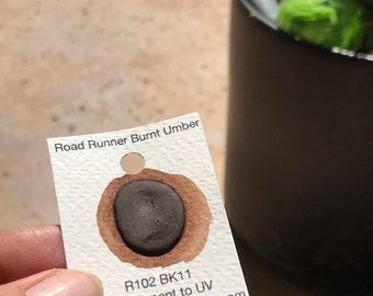 Dot Card Handmade Watercolor Paint Road Runner Burnt Umber