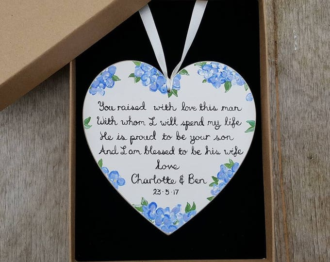 Personalised Wedding Gift for Mother of the Groom - choose your colours, flowers and wording.