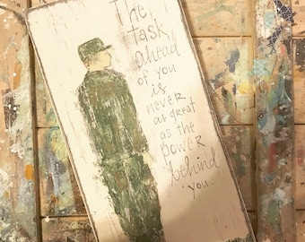Military Army Soldier Basic Training Soldier Handpainted sign art with quote