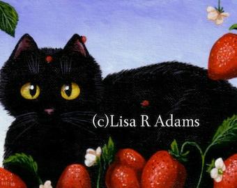 Black Cat ACEO Art Print Card Miniature Giclee Creationarts
