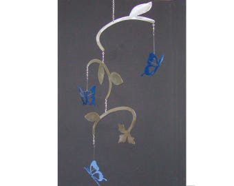 Spinning Butterfly Metal Garden Porch Mobile