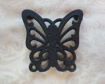 Small Butterfly Decorative Cast Iron Vintage Trivet, 3 in