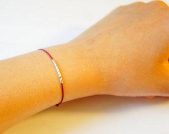 Handmade talisman thin silver sterling bracelet customizable