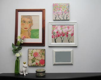wall gallery - Bohemian Flower Girl- 5 pc vintage  wall art with mirror- feng shui - lady paintings