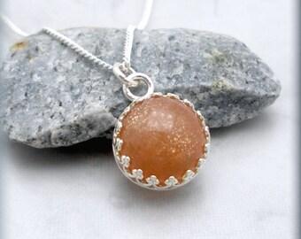 Sunstone Necklace, Peach Pendant, Gemstone Jewelry, Sterling Silver, Gemstone Pendant, Sun Stone Necklace, Orange