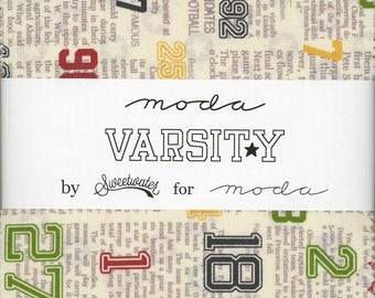 Varsity Charm Pack from Moda, Set of 42 5-inch Precut Cotton Fabric Squares (5590PP)