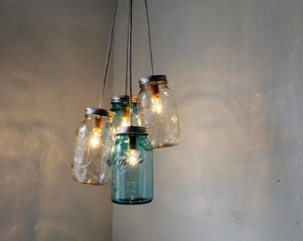 Mason Jar Chandelier - 4 blue and clear quart jars - Handcrafted Mason Jar Lighting Fixture - Upcycled BootsNGus Lamp Design