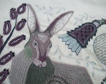 Jackrabbit Embroidery Pattern, Jacobean Style Jackrabbit PDF Embroidering Pattern