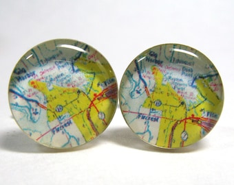 Vintage map cufflinks - Gig Harbor Tacoma Fircrest Washington 1970s  - silver-plated round cuff links