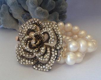 Wedding Freshwater Pearl Bracelet ,Bridesmaids Gifts,Bridal Bracelet, Pearl Wedding Bracelet, ,Wide Bracelet,Floral Rhinestone Brooch