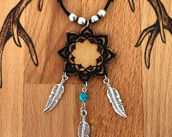 Wooden mandala necklace boho gypsy with silver leaves