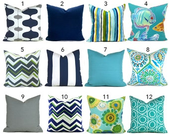Outdoor Pillows Outdoor Pillow Covers Decorative Pillows ANY SIZE Pillow Cover Navy Outdoor Pillows Turquoise Pillow Navy Pillow You Choose