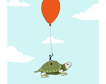 Turtle flight nursery art. Whimsical turtle print.