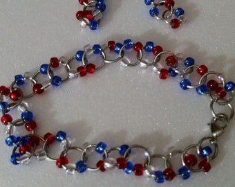 Red, White and Blue Patriotic Bracelet and Earring Set