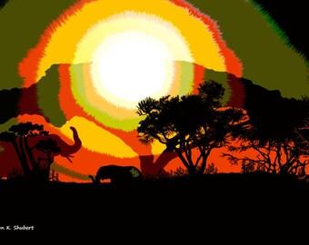 Elephant Art, Africa Safari, Digital Painting, Serengeti Home Decor, Orange Yellow Green Black, Wall Hanging, Giclee Print, 8 x 10