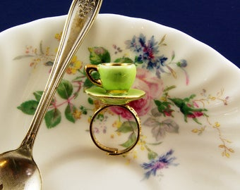 Green Teacup Ring - Tea Party Ring - Tea Wedding Favour - Adjustable Ring