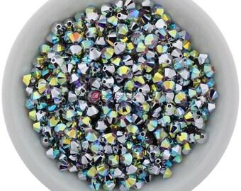 Crystal AB CAL (3mm & 4mm) Swarovski Crystal 5328 Xilion Bicones