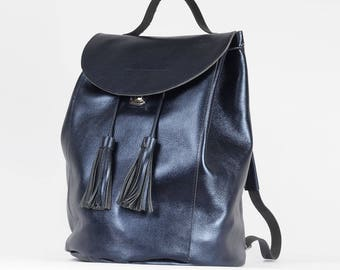 Shiny Metallic Navy blue backpack drawstring with tassels  / To order / Leather Backpack / Leather rucksack / Christmas Gift