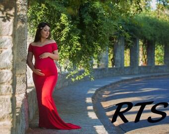 Ready to Ship Maternity Dress for Photo Shoot-Long Maternity Dress-Maternity Gown-Maxi Gown-Short Sleeves Dress-BELLA Dress RTS
