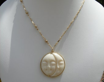 Gold chain necklace 585 goldfilled with Moon trailer