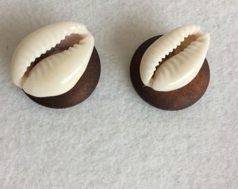 Wood and cowry shell post earrings round wood stud earring cowry shell wood earring