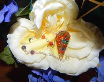 SALE LARGE ORGONE Reiki Dowsing Pendulum - Divining tool, Pendulum with gemstone bead chain - Reiki Magic Wicca Pagan Wiccan jewelry