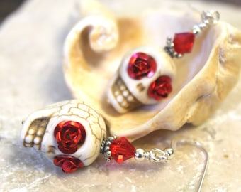 Sugar Skull Earrings, White Skulls with Red Rose Eyes, Sterling Silver, Valentine's Day, Day of the Dead, Goth Earrings, Halloween Jewelry