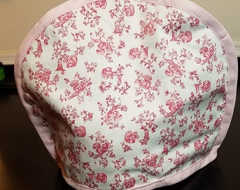 Pretty pink floral tea cosy (tea cozy) and matching pot holder