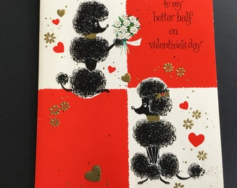 Vintage Valentine's Day Greeting Card, To my Better half, poodle, American Greetings