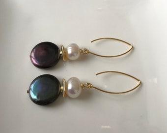 Pearl earrings, black coin pearl earrings, long earrings, marquis earrings