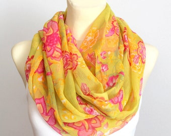 Infinity Loop Scarf Silk Infinity Scarf Mustard Yellow Scarf Silk Floral Chiffon Scarf Sheer Scarf Silk Small Scarf Gift for Mother Outdoor