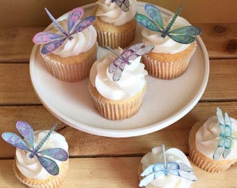 Dragonfly, Dragonflies, Edible Paper Cupcake Cake Topper, Wafer Paper, Food Safe, choose amount from menu
