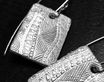 Fine Silver Rectangle Earrings with Intricate Design