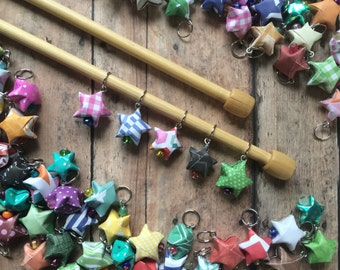 Origami Stitch Marker Stars - Set of 5