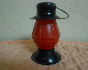 1940's Avor Red Glass Lantern with Black Tin Top and Bottom / Candy container