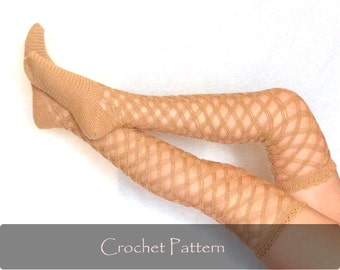 CROCHET PATTERN - Diamond Stockings Crochet Pattern Crochet Women Lacy Fishnet Socks Diy Tutorial Mesh Over Knee Socks PDF - P0051