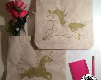 GOLD UNICORN Tote Bag // Natural Canvas Tote // Screen Print