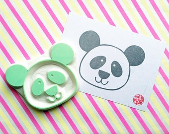 large panda rubber stamp | animal stamp | birthday baby shower scrapbooking | diy wall paper | gift for her | hand carved by talktothesun
